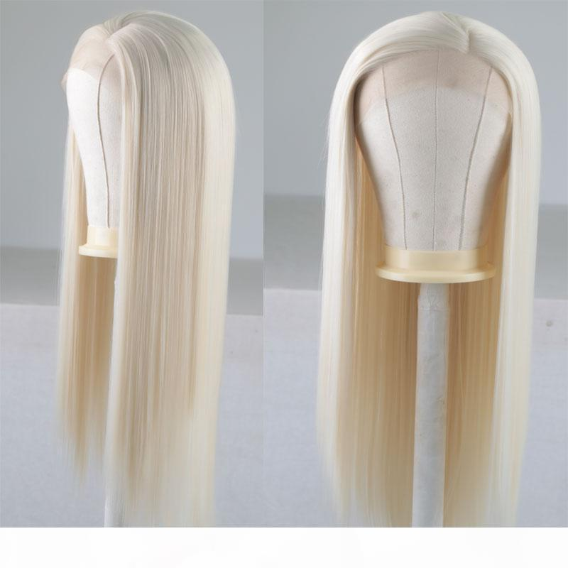 Sarışın Uzun Düz 13 * 3 İnç Sentetik Dantel Açık Peruk Isıya Dayanıklı Fiber Saç Yan Ayrılık İçin Kadınlar Kızlar Peruk