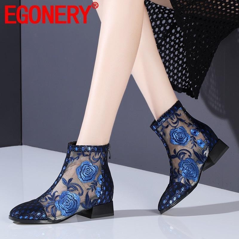 Egonery Mulher Sapatos 2020 Verão Nova Moda Sexy Quadrado Toe Malha De Couro Genuíno Botas Do Ankle Fora Baixo Saltos Sapatos Senhoras Zip