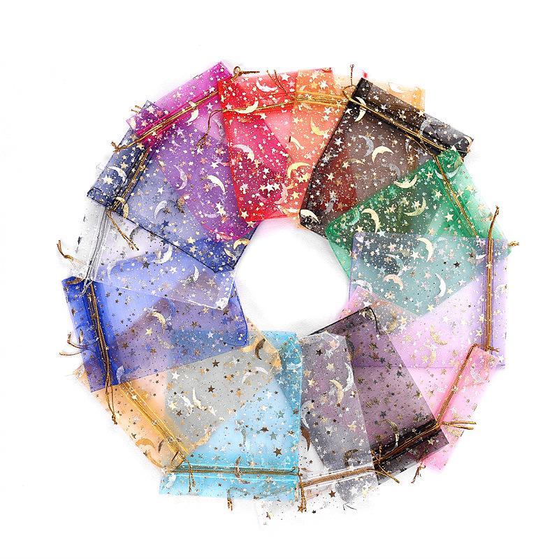 نجمة القمر تصاميم هدية عيد الميلاد التفاف أكياس الأورجانزا أكياس الرباط بالجملة حقائب الحلوى حزمة المجوهرات