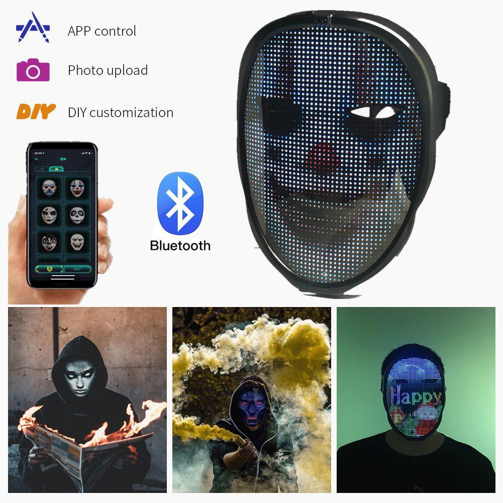 Bluetooth-приложение Программируемое DIY Photo Poll Color Animation Светящийся светодиодный текст Мужская маска дисплейная плата Хэллоуин вечеринка Рождественская игрушка подарок