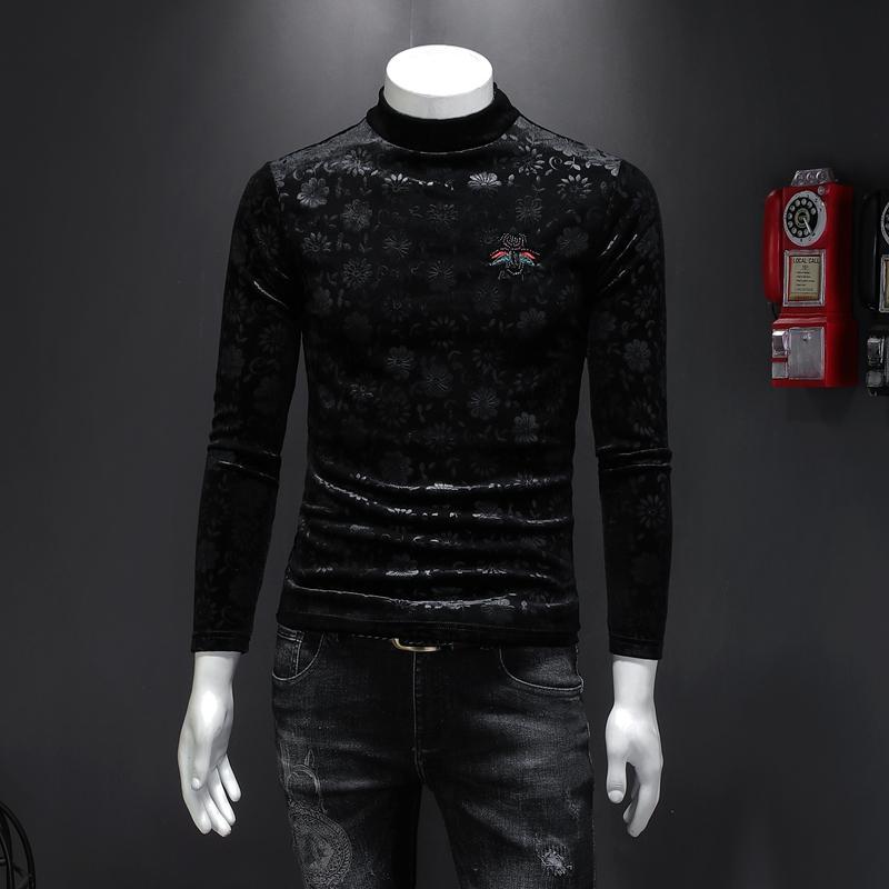 Осенью и зимняя мужская с высоким содержанием шеи рубашка китайский стиль тонкий золотой бархат плюс бархатный толстый цветок с длинной рукавами футболка мужская тенденция