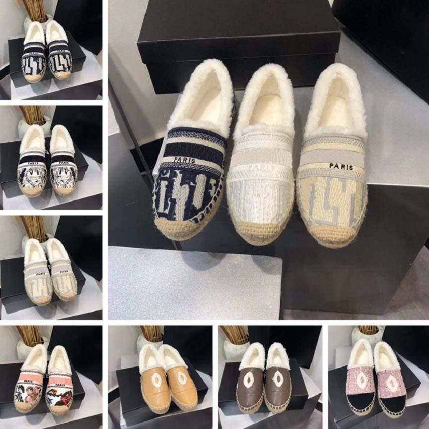 Classics Mocassins Winter Femmes Espadrilles Chaussures plates Toile Véritable Lambiers Loca-mains Deux Ton Ton Casquette Toine Chaussures Casual avec boîte CH125 03