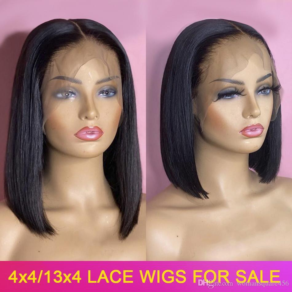 Bob Wig Human Hair 13x4 4x4 Lace Front Closure Human Hair Short Bob Wigs Straight 150% Peruvian Remy Lace Frontal Wigs For Women