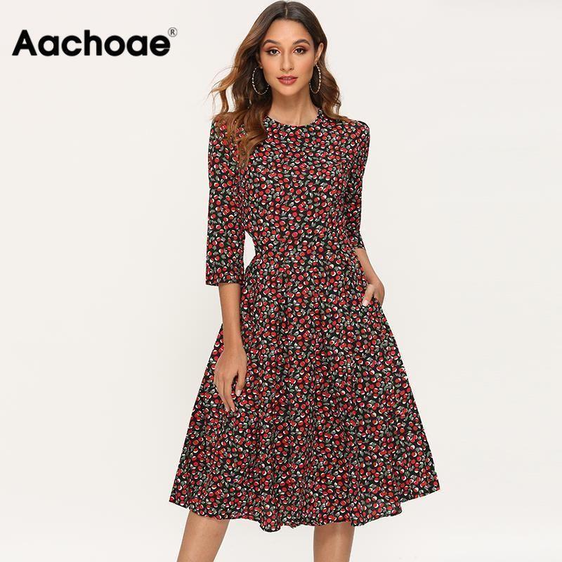 Aachoae Zarif Elbiseler Kadınlar 2020 Çiçek Baskı Bir Çizgi Parti Elbise Sonbahar Üç Çeyrek Kollu O-Boyun Midi Elbise Robe Femme Y200623