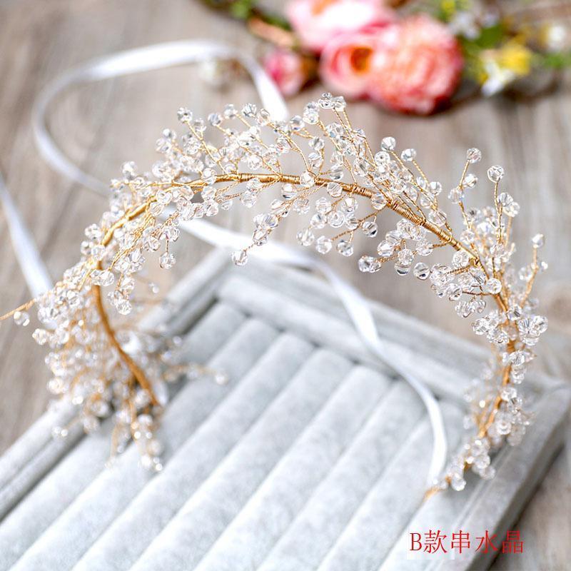 مقاطع الشعر المشابك الخرز الكثيف الشريط اكليل غطاء الرأس اليدوية كريستال عقال الزفاف