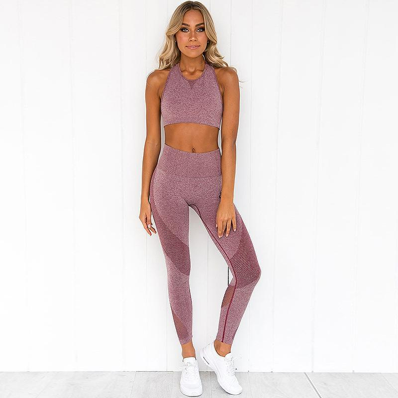Yoga Outfits Seamless Set Women Fitness Clothing Sportswear Woman Gym Leggings Padded Push-up Strappy Sports Bra 2 Pcs Suits 2021