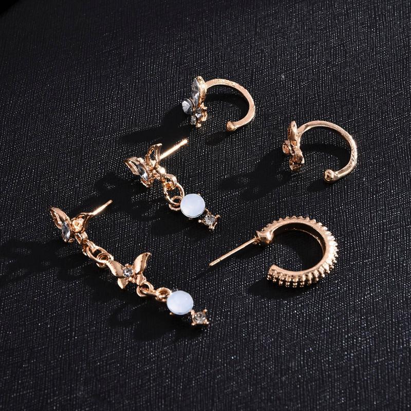 2020 Новая горячая распродажа мода темперамент популярной личности смола бабочка серьги серьги ухо зажима ушное кольцо 5 шт. Набор ювелирных изделий