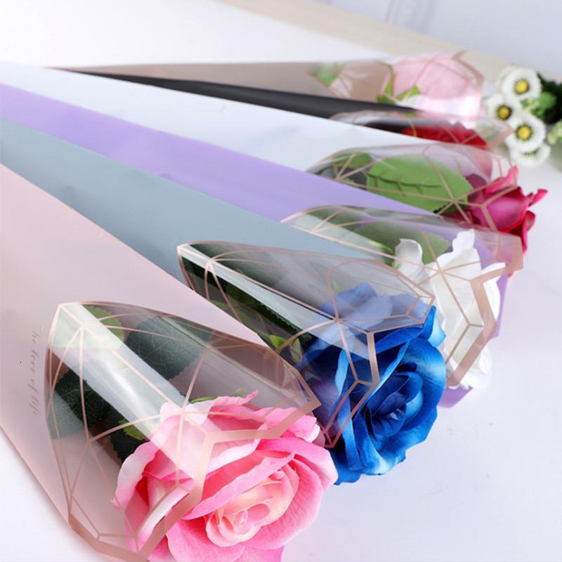 Fabrik Preis20pcs / set Single Bag Kunststoff Transparente Blume Geschenkpapier Valentinstag Rose OPP Floral Verpackung Taschen