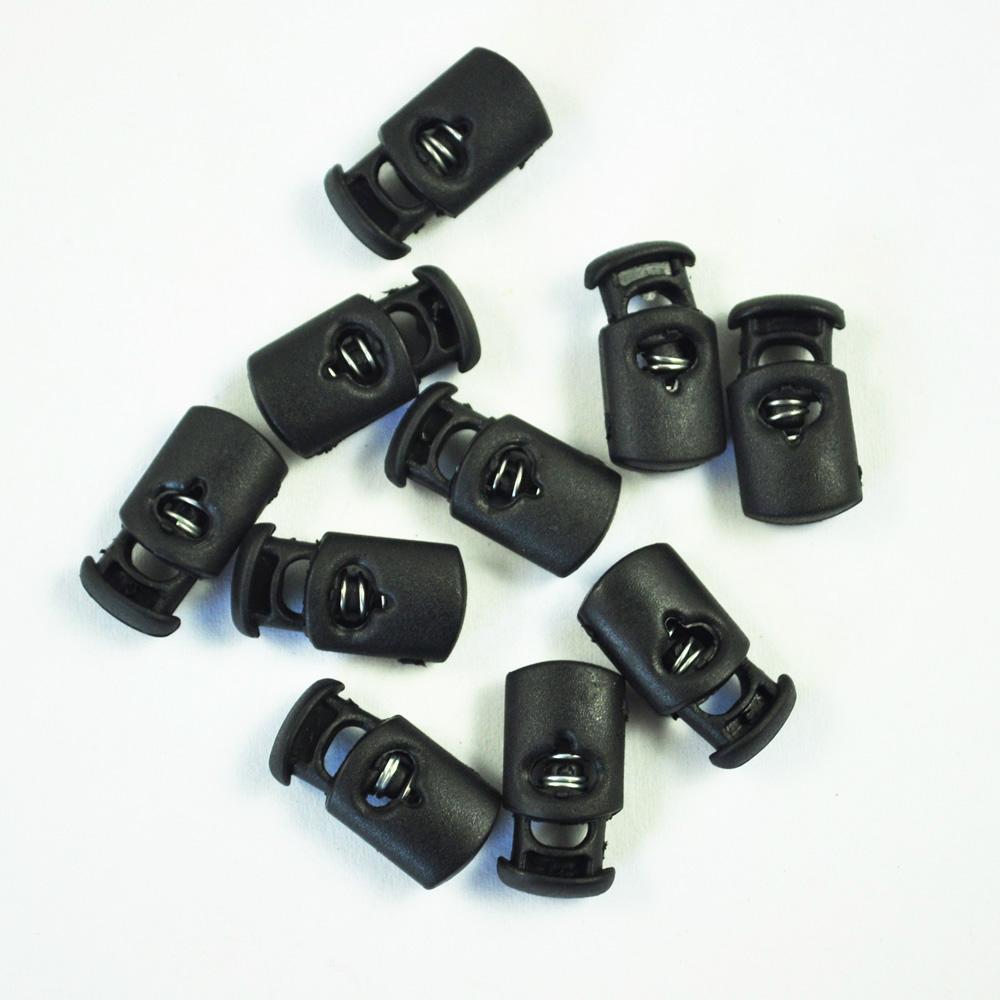 100 pcs plástico black fio de bloqueio de mola de bloqueio de mola parar Único buraco cordão rolha alterna para peças de corda de paracord shoelace