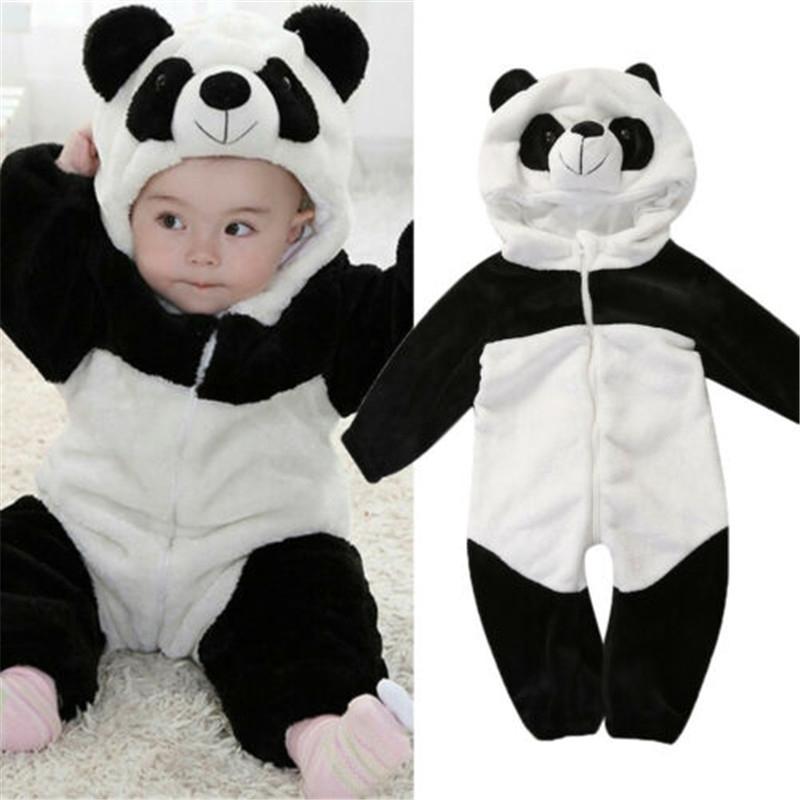 0-36 месяцев новорожденных Детская одежда держит теплые зимние комбинезоны общего панды животных с капюшоном Rombers Baby Boy Romper Baby Girl Pajamas 201127