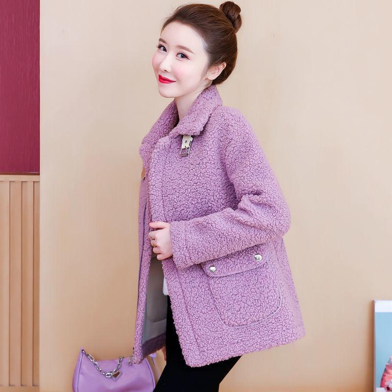 Breve gruesa cálida femenina 2021 Nuevo otoño e invierno mujeres chaqueta de lana suelta pelaje de cordero falso abrigo femenino