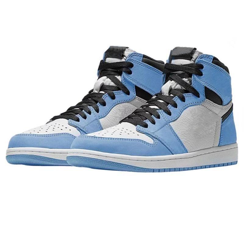 أحذية ذات نوعية جيدة 2021 jumpman 1 عالية og University الأزرق 2.0 فضي اصبع القدم منتصف الليل البحرية الرجال كرة السلة مع صندوق