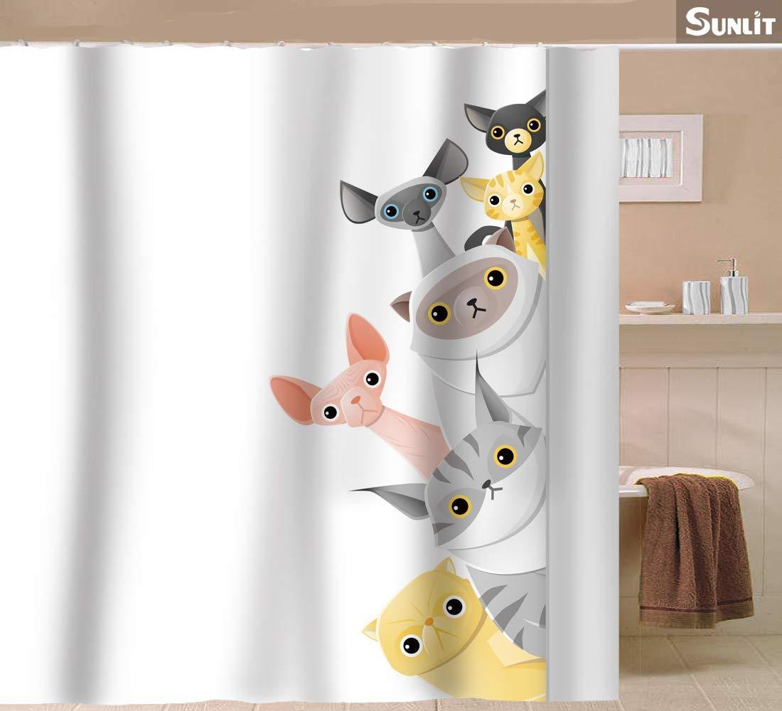 Carino tenda della doccia Shorthair Peekaboo Gatti del fumetto per i bambini Cat Lover curioso divertente Kitten fica Tessuto Bagno Decor Set