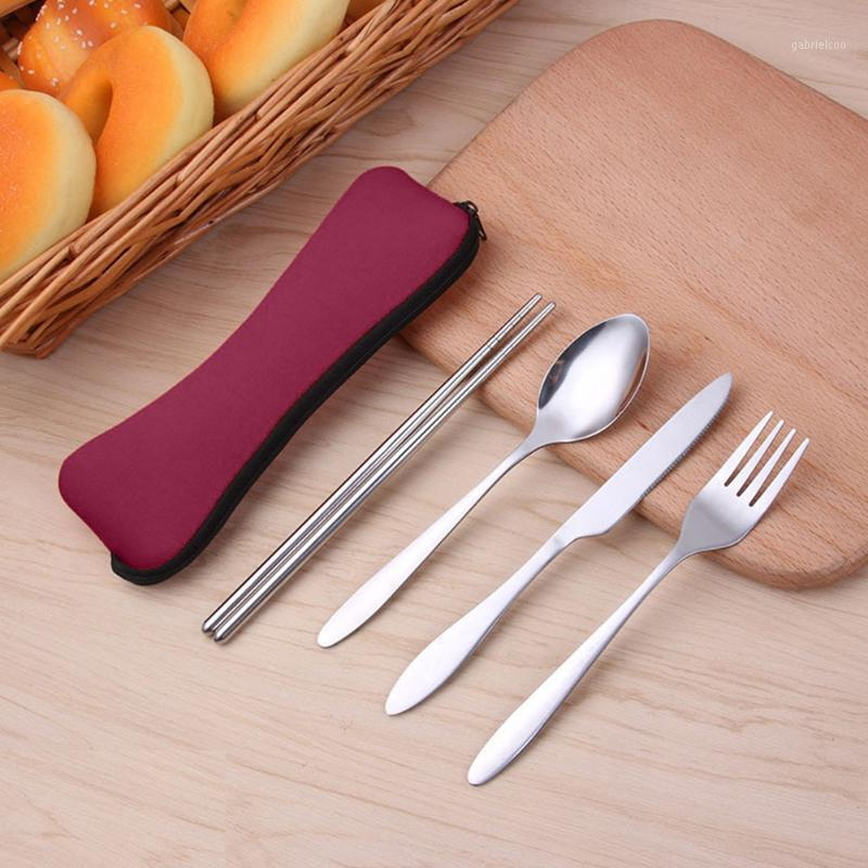 Палочки для палочек столовые портативный набор из нержавеющей стали Пикник портативные кухонные столовые приборы вилка ложка ужин утварь для кемпинга домашний обед Durable1