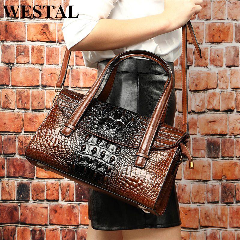 Кожаные сумки для ручкой - верхний подлинный женский аллигатор дизайн Westal Bags Big Messenger / Bag Bag PVTQH