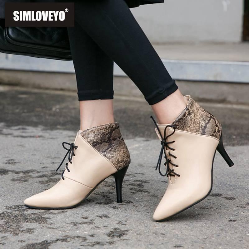 Çizmeler Simloveyo Sivri Burun Ayak Bileği Kadınlar Dantel Up Çapraz Bağlı Botas Feminino Sapatos De Mujer Ince Yüksek Topuk Bayanlar Szie 48 B1524
