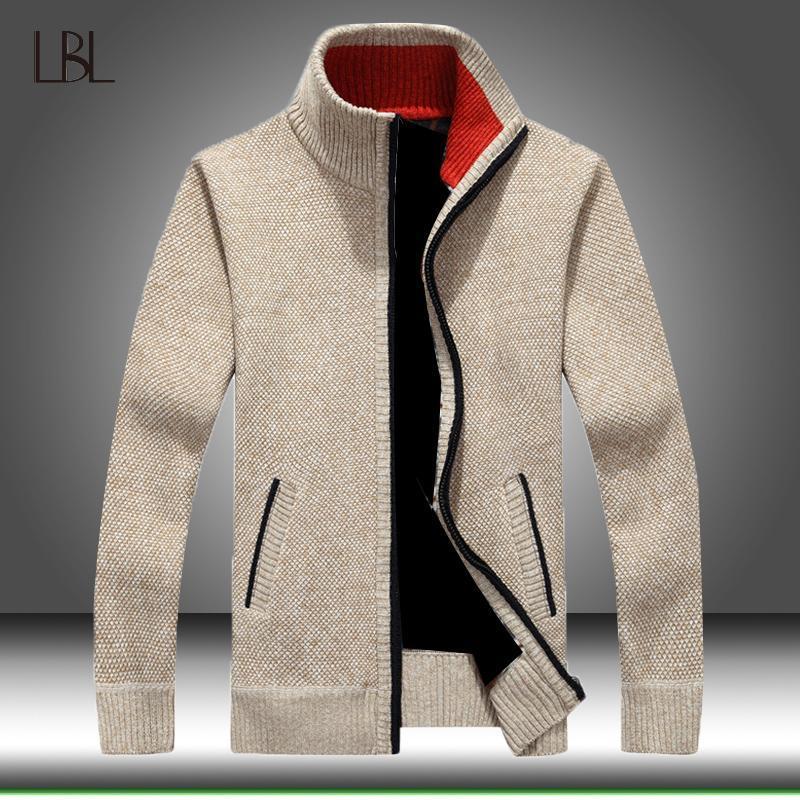 Cappotto a maglia da uomo in inverno Cappotto a maglia con cerniera a maniche lunghe Cardigan Fleece Piena Zip Maschio Causale Plus Size Abbigliamento per l'autunno