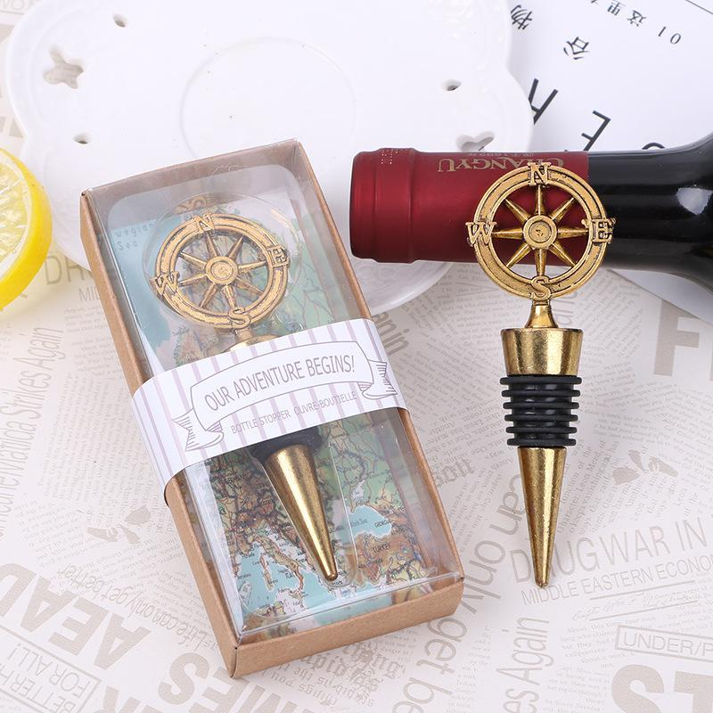 New Arrival Wedding Favors Rudder Wine Bottle Stopper Nautical Themed Compass Wedding Shower Favors Free DHL 80