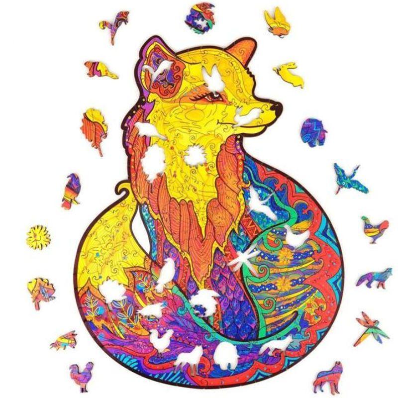 Оптовая лиса деревянная головоломка-уникальная форма головоломки для головоломки лучший подарок для взрослых и детей, замаскирующих лис головоломки 332 шт.