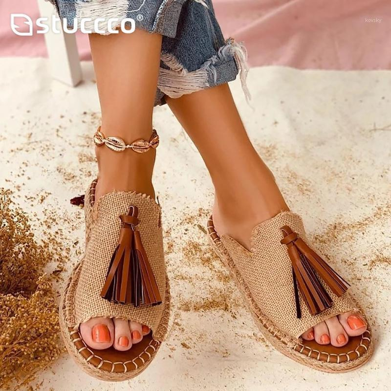Damen Sandalen Schöne Quasten Sommerschuhe für Frauen Gladiator Flache Sandalen Weibliche Folien Maultiere Größe 4.5-10.51