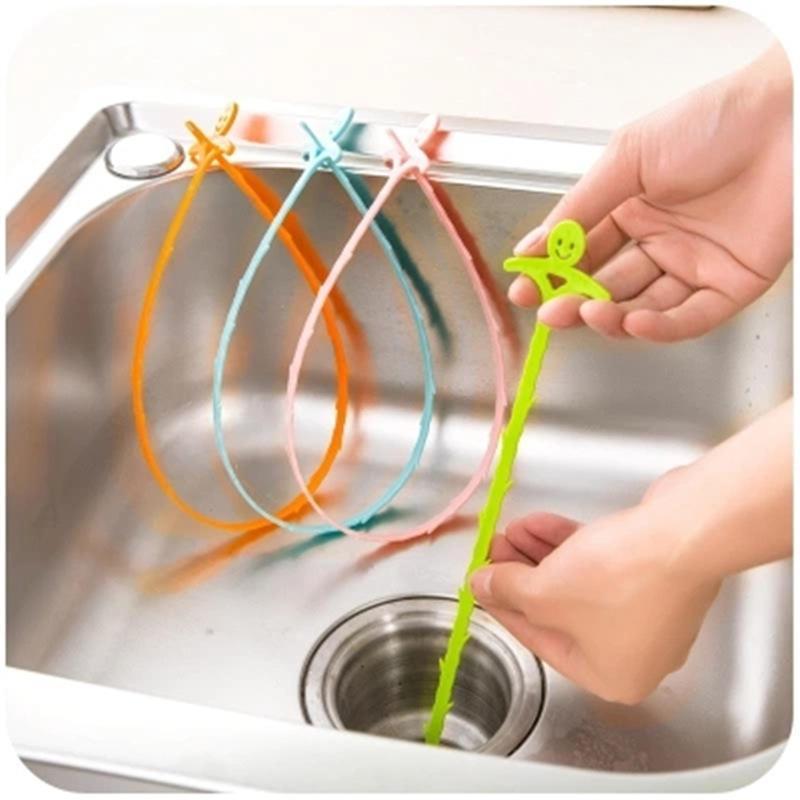 4 x longo dreno unblocker stick ferramenta removedor de cabelo afundar chuveiro banho de limpeza de cobra casa de banho ferramenta de limpeza