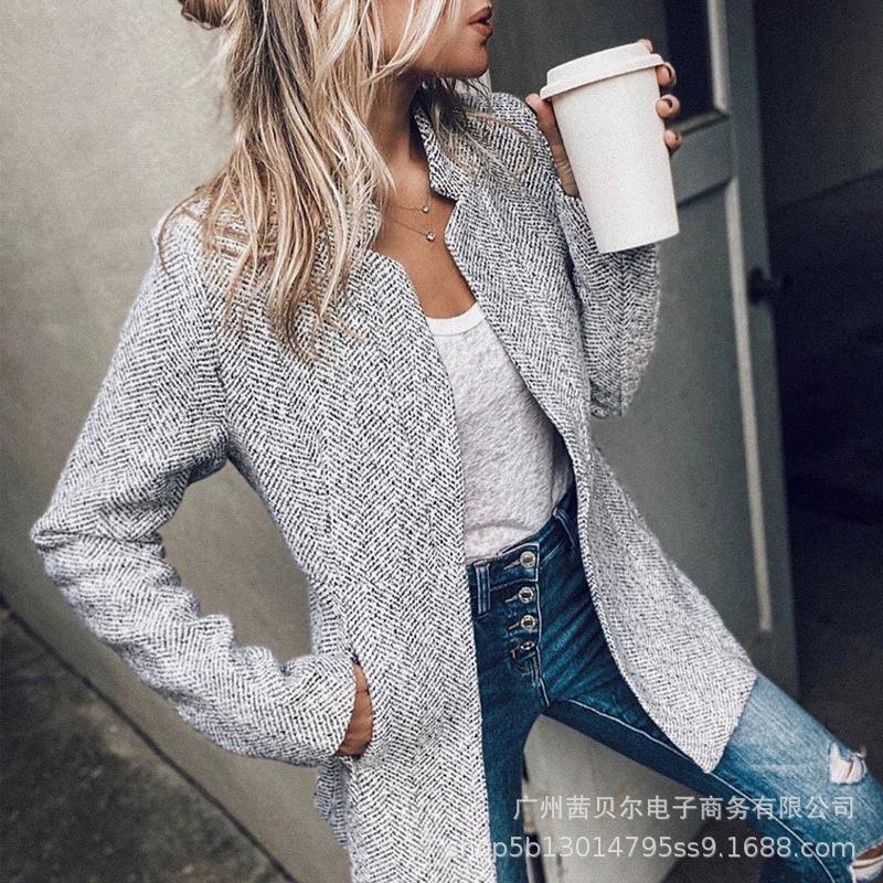 Mulheres vintage outono inverno xadrez lapela colarinho midi lã casaco quente grosso slim cardigan senhoras jaqueta outwear Q1210