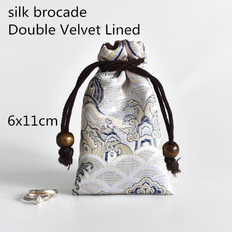 Espesado Mini seda de seda brocado bolsa doble terciopelo joyería bolsas con cordón reloj de viaje bolsa de viaje bolsas de tela hecha a mano 1pcs1
