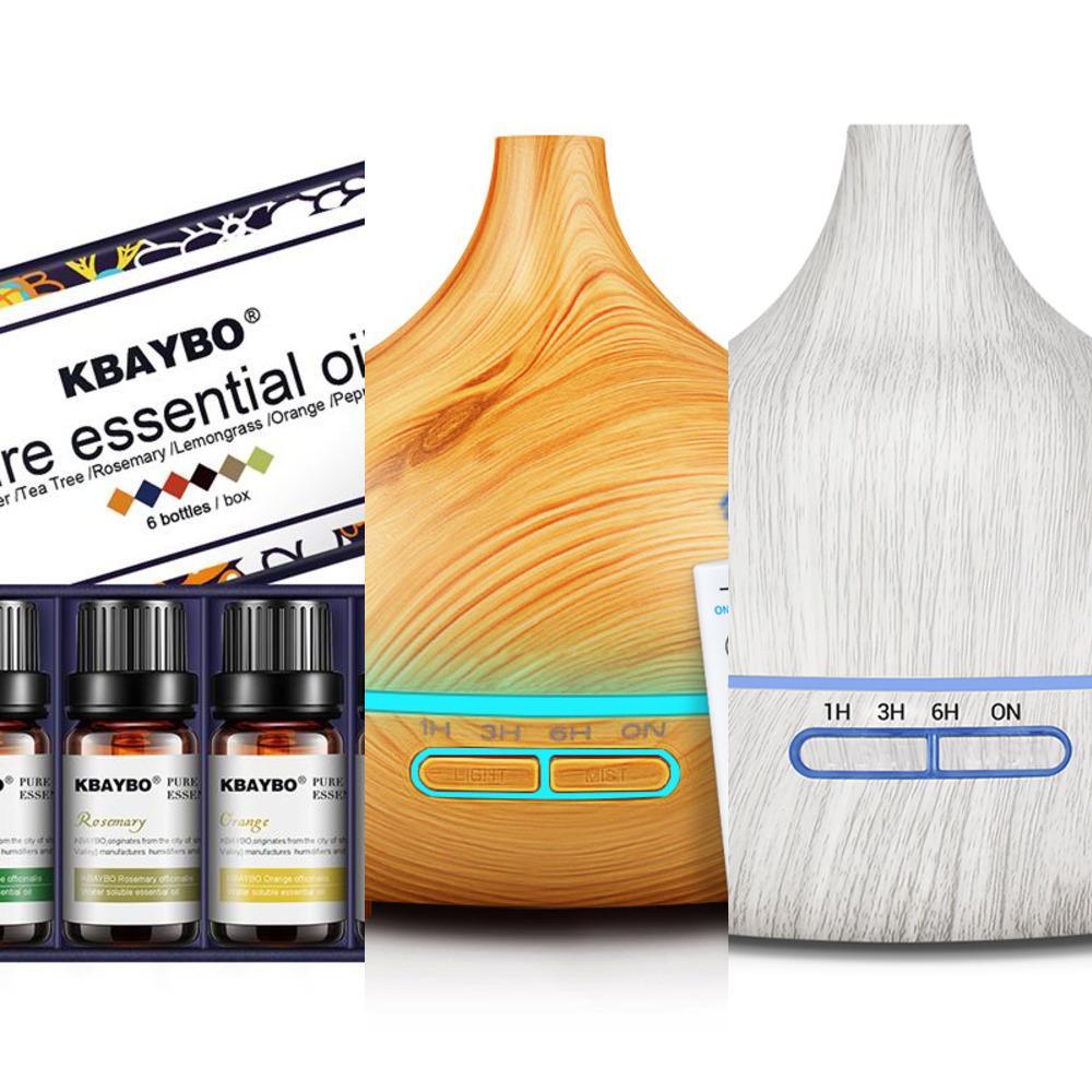Kbaybo 400ml Electric Aroma De Diffusore di olio Umidificatore Oli Essenziali Luci LED Purificatore d'aria per l'ufficio