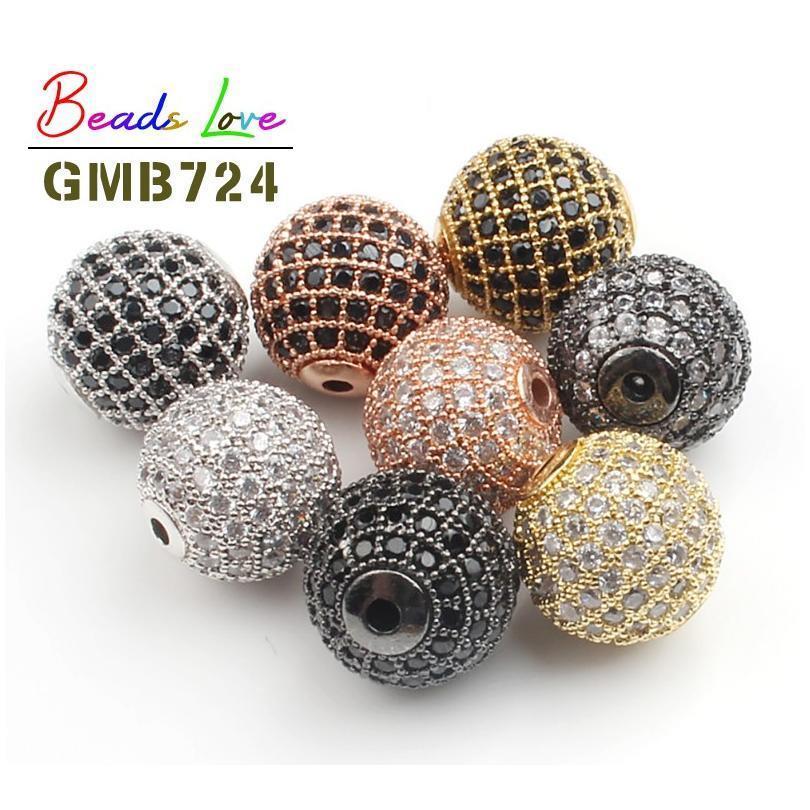 3 unids / lote CZ SPACER Bead redondo 4mm 6mm 8mm 10mm 12mm de latón micro pavimento cúbico zirconia perlas para la joyería que hace los encantos de bricolaje Jllribj