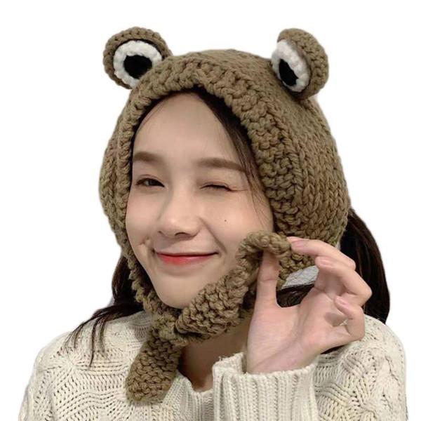 Donne uomini carino rana occhi tessuto a maglia skullies berretto cappello solido color chunky crochet horajuku inverno caldo auricolare auricolari