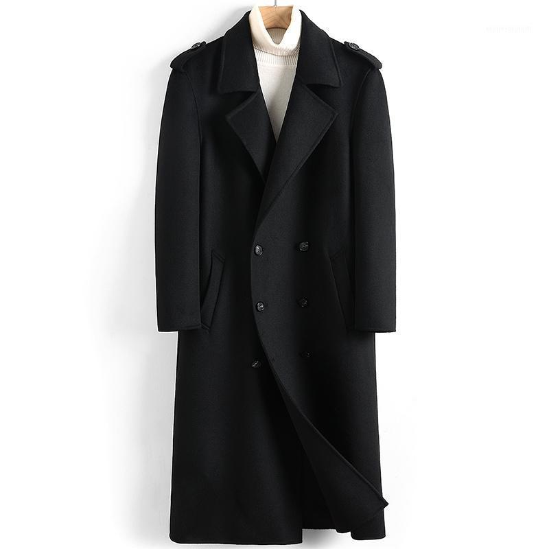 Men's Wool & Blends 2021 Coat Men Long Jacket Double-breasted Casual Mens Coats Overcoat Spring Autumn Windbreaker Manteau Homme 48221