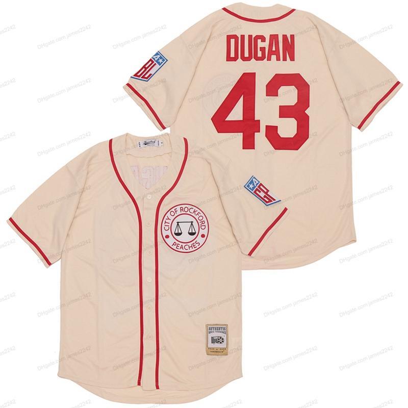 Billig Großhandel Jimmy Dugan # 43 Baseball Trikots Film Rockford Pfirsiche Tom Hanks Herren genäht Jersey Kostenloser Versand Top Qualität
