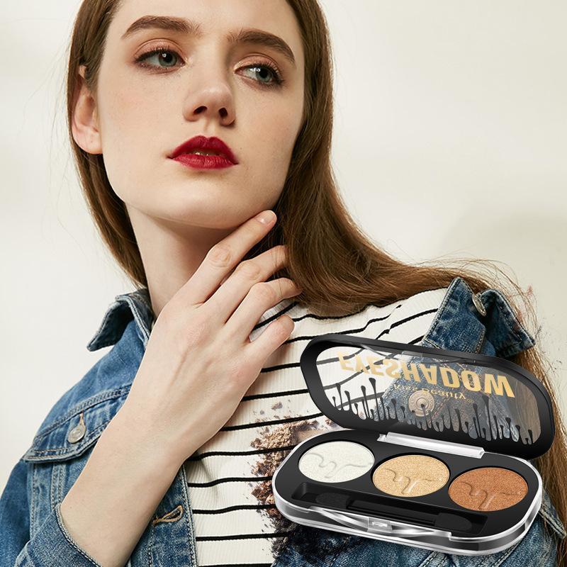3 Cores Glitter Eyeshadow Maquiagem Paleta Matte Eye Shadow Palette Diamante Sombra Pigmento Pigmento Cosméticos