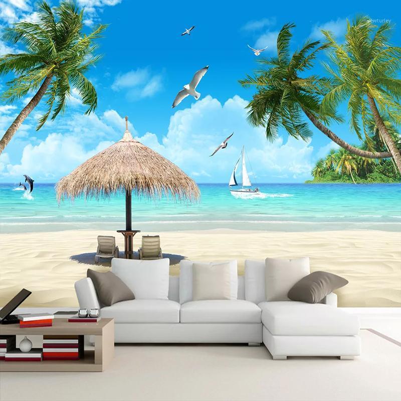 Пользовательские фото обои на стене наклейки голубое небо пляж кокосовое дерево морской пейзаж 3d гостиная диван телевизор фона папье peint мошенник 3d1