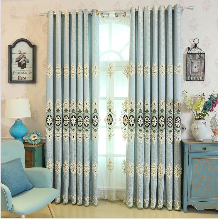 التطريز الستار الفاخرة لغرفة النوم ستائر المطبخ لغرفة المعيشة الحديثة كورتيناس النسيج نافذة سلسلة الستائر