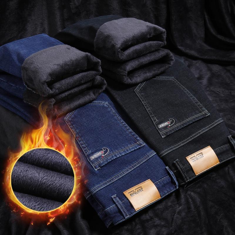Pantalones vaqueros para hombres Nieve de invierno Mantener los hombres cálidos Pantalones rectos Moda Moda Estiramiento largo Masculino Casual Espesano Fleece Pantalones sueltos