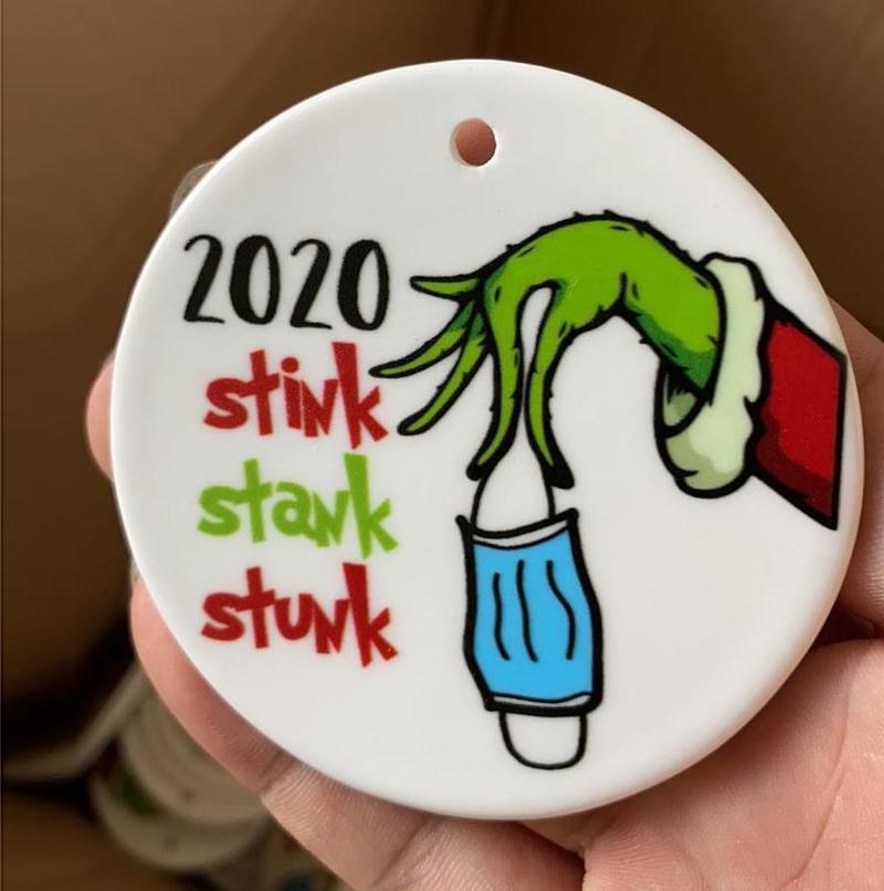 2020 Stink Stink Stunk Grinch Fiesta de Navidad Decoración de Papá Noel con máscara de cara Doble lados Impresión Colgante Regalo Colgante Personalizado