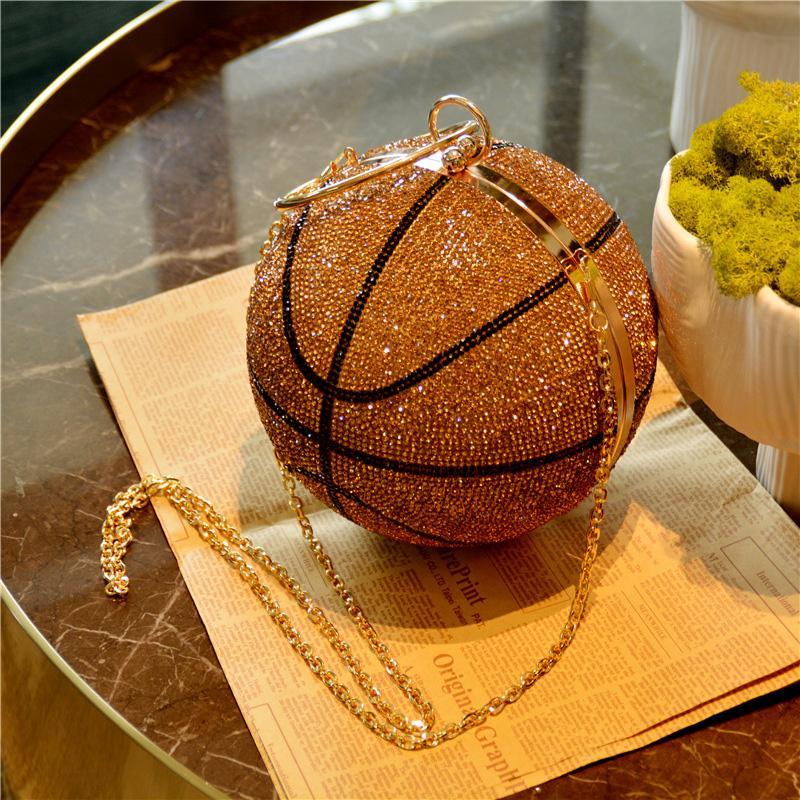 HBP Баскетбол круглая мяч Золотые кошельки сцепления Crossbody Для женщин Вечерние Сумки Rhinestone Дамы Вечеринка Bag Bag Pink Bling