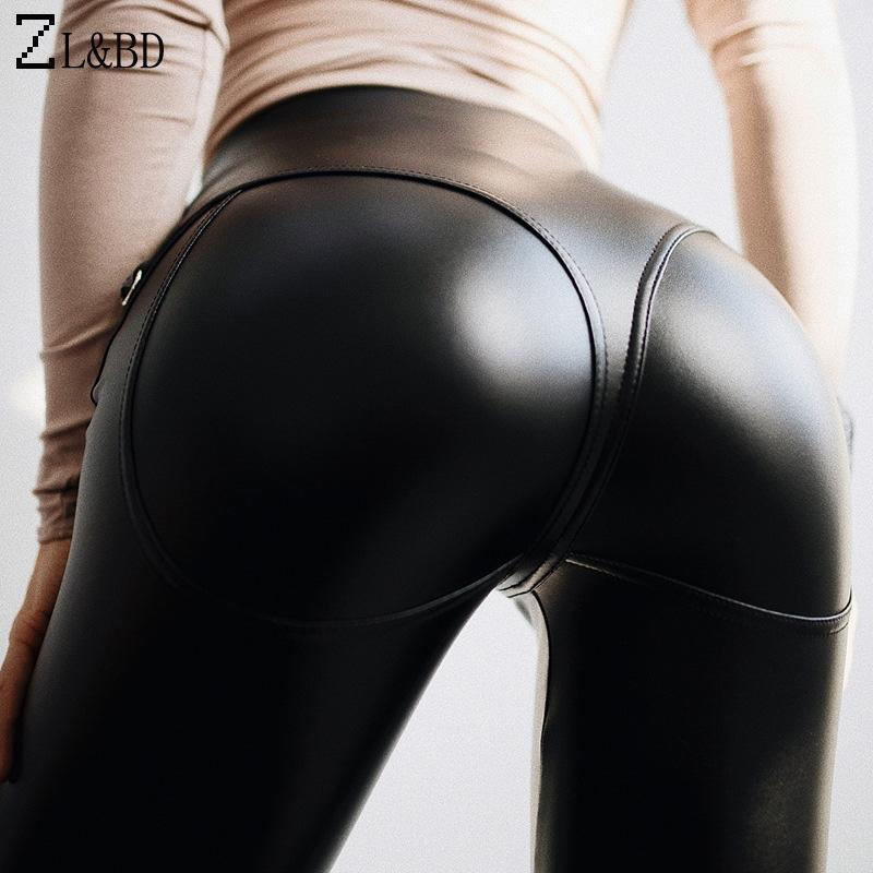 ZLBD Sexy Push Up Skinny Black Pu en Cuir Leggings Femmes Été Taille haute Étendue Frontière Fipper Fitness Leggings Pantalon ZA7941