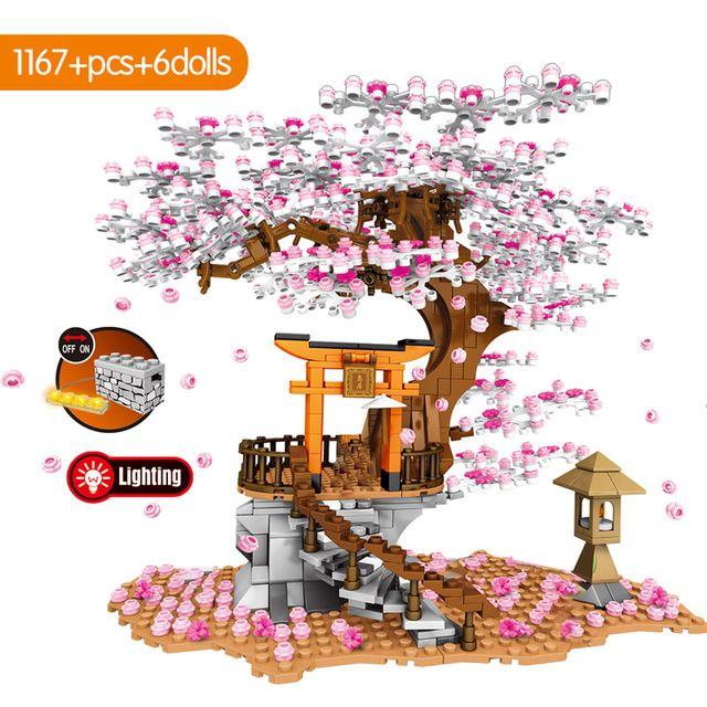Sembo Şehir Sokak Görünümü Iyi Fikir Sakura Inari Tapınak Tuğla Arkadaşlar Kiraz Çiçeği Teknik Yaratıcı Ev Ağacı Yapı Taşları Oyuncaklar
