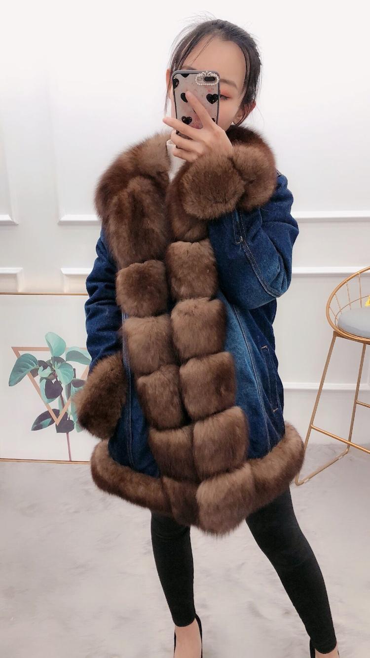 Jaqueta jeans 2020 mulheres winter parka real raposa natural grosso pele parkas novo coelho x640