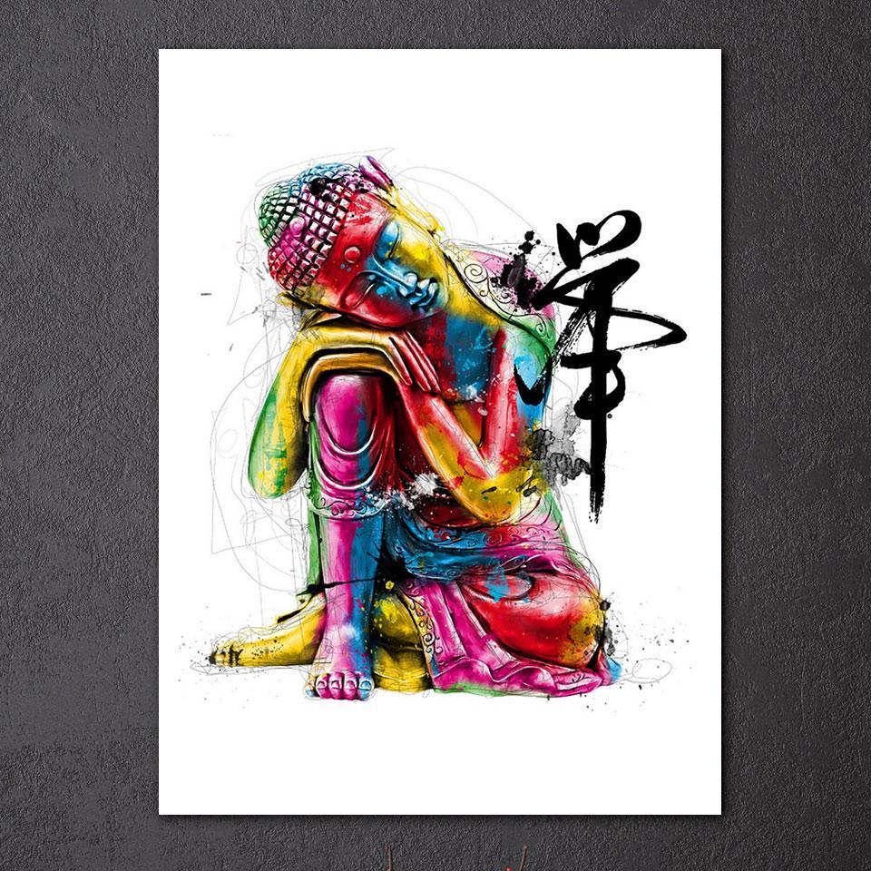 1 Pcs Canvas Zen Art Painting Colorful Buddha Chan Meditation Buddha Zen Poster Picture Wall Art Painting