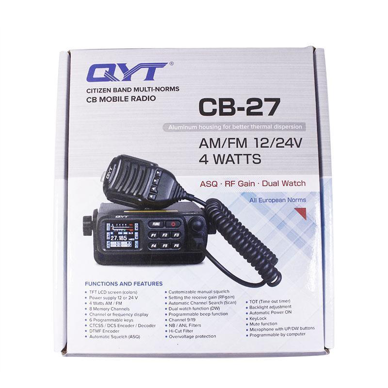 워시 토키 QYT CB27 쇼트 웨이브 차량 라디오 인터폰 26.965-27.405MHz 모바일 무선 통신