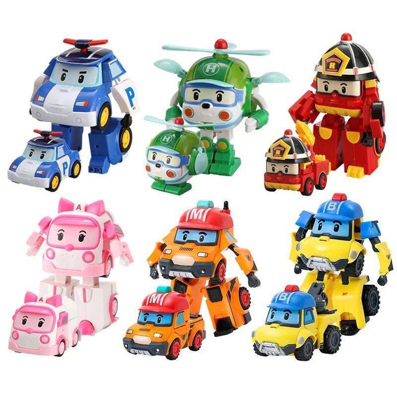 6 pz / lotto Toys Korean Kid Toys Robocar Poli Trasformazione Poli Amber Roy Roy Car Giocattoli Azione Figure Giocattoli per bambini Regali con scatola Z1120 Z1120