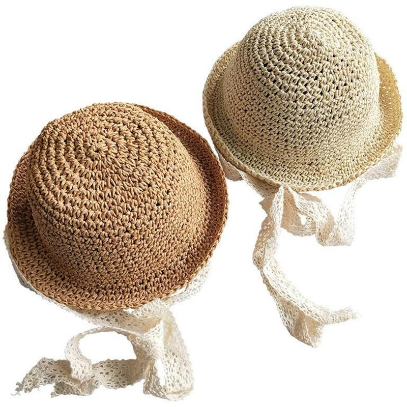 Fashion Baby Kids Straw Hats Cute Girls Hand Made Sun Kids Straw Big Wing Visor Cap Foldable Breathable Summer Parent-child Beach Hats INS