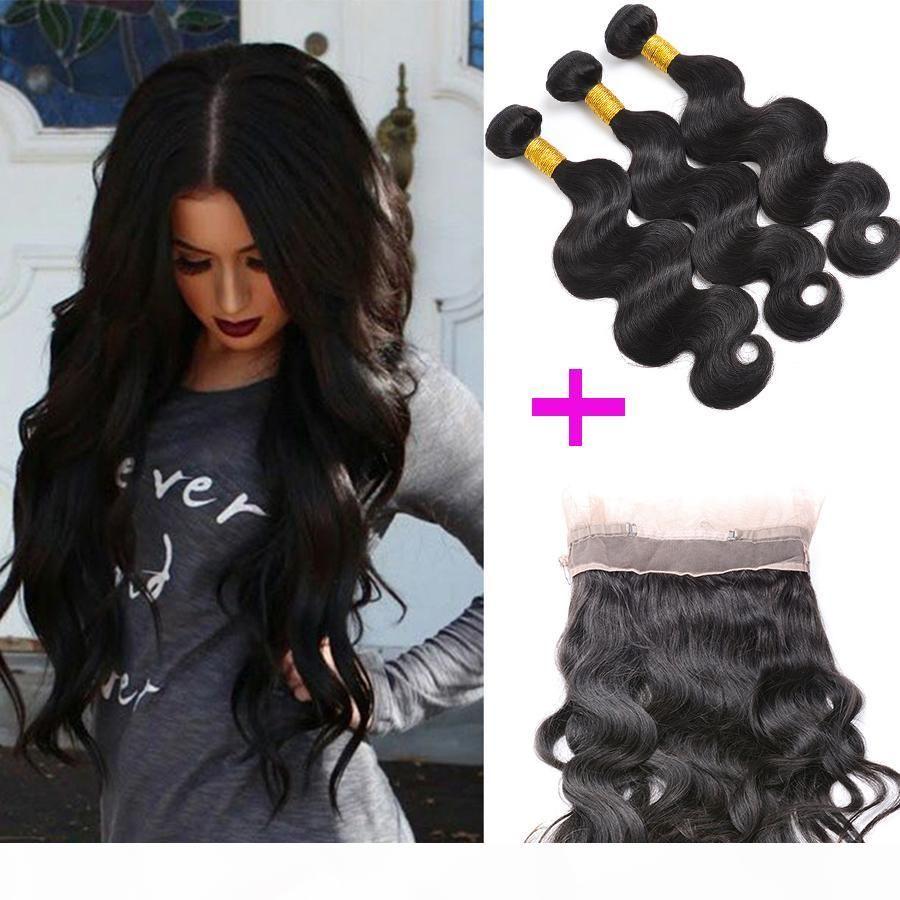 Бразильские волосы девственницы предварительно сормыли 360 кружева фронтальные с пучками кузовной волны 3 штуки партии человеческих волос лобное закрытие волос наращивание