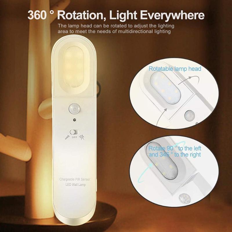 USB Rechargeable Motion Sensor LED Night Cabinet Closet Wardrobe Wall Light Lamp