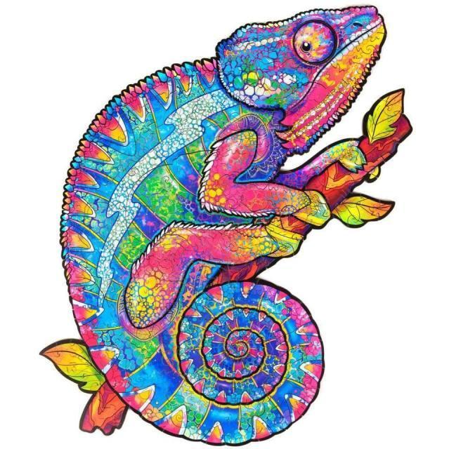 Деревянная головоломка Jigsaw, лучший подарок для взрослых и детей, уникальные формы Jigsaw Piece радужное хамелеон, 10,2 x 13 в (26 х 33 см) 202 шт.