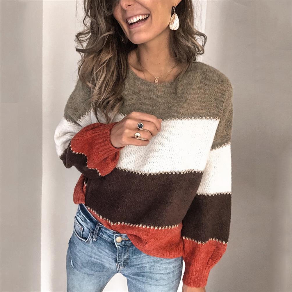 Gestreifter Patchwork Beiläufige Pullover Frauen Kleidung Herbst Winter Streetwear Lose gestrickte Pullover Weibliche Tops Neue Ankunft 2020