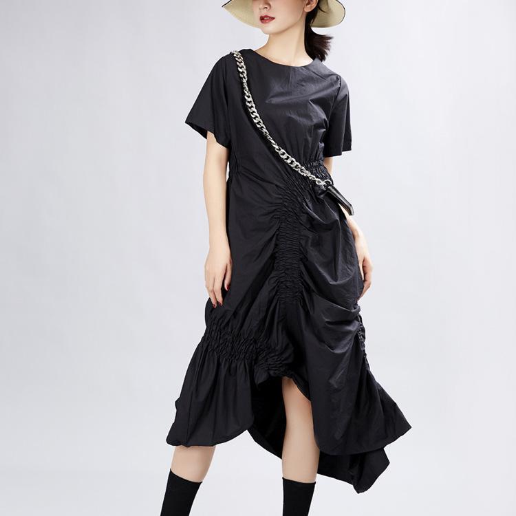 Платье лето 2020 сетевой красный нерегулярный темперамент средняя длина вокруг колена свободная плиссированная юбка 1112